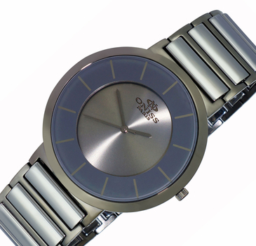 SWISS MOVEMENT, TUNGSTEN  AND STAINLESS STEEL CASE AND BAND, ON5555-77 (MTT) - RETAIL AT $795.00