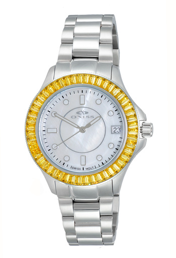 SWISS MOVEMENT, WHITE AUSTRIAN CRYSTAL ACCENT, MOP DIAL,  ON7324-10_YL - RETAIL AT $550.00