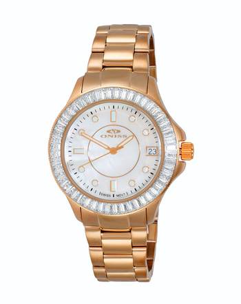SWISS MOVEMENT, WHITE AUSTRIAN CRYSTAL ACCENT, MOP DIAL,  ON7324-20_RGWT - RETAIL AT $550.00
