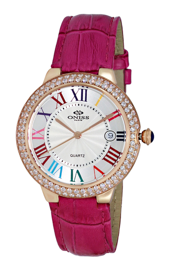SWISS MOV'T, AUSTRIAN CRYSTAL , GENUINE LEATHER BAND, ON3322-LP, RETAIL AT - $495.00
