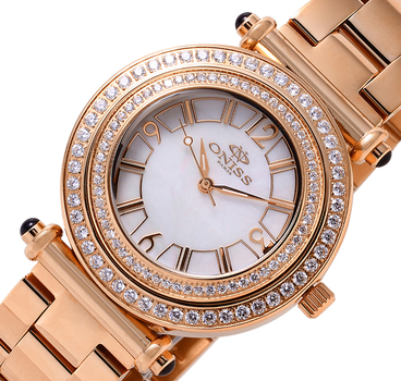 SWISS MOV'T, AUSTRIAN CRYSTAL, MOP DIAL, ON8182-LRG/WT, RETAIL AT $700.00