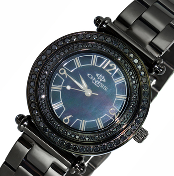 SWISS MOV'T, AUSTRIAN CRYSTAL, MOTHER OF PEARL DIAL, ON8182-LIPBK, RETAIL AT $700.00