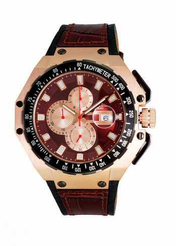 SWISS MOV'T CHRONOGRAPH WITH TYCH YMETER, SANDWICH CASE 25 PIECE CASE , ON3255-MRGBN - RETAIL AT $825.00