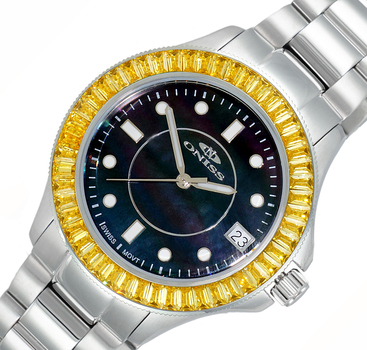 SWISS MOV'T., DATE-MOTHER OF PEARL DIAL, AUSTRIAN CRYSTAL, ON7324-BKYL - RETAIL AT $550.00
