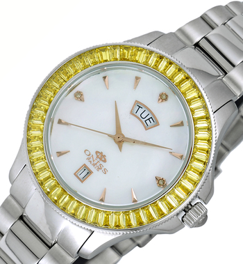 SWISS MOV'T., DATE-MOTHER OF PEARL DIAL, AUSTRIAN CRYSTAL, ON732-YLWT - RETAIL AT $550.00