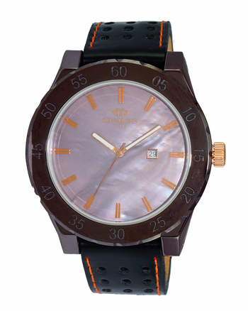 SWISS MOV'T, HIGH TECH CERAMIC, MOTHER OF REARL DIAL , ON8174LB-MRG/BN - RETAIL AT $725.00