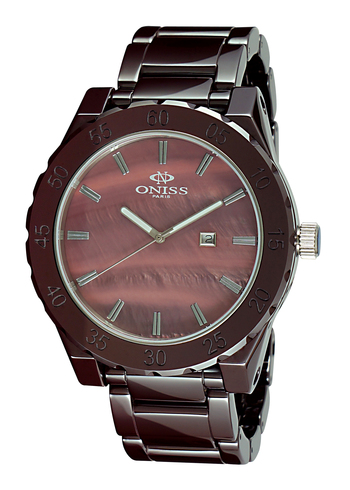 SWISS MOV'T, HIGH TECH CERAMIC, MOTHER OF REARL DIAL , ON8174-M/BN - RETAIL AT $725.00
