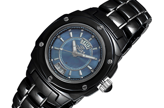 SWISS MOV'T., HIGH TECH CERAMOC AND STAINLESS STEEL, MOP DIAL, ON436-L/BK - RETAIL AT $750.00