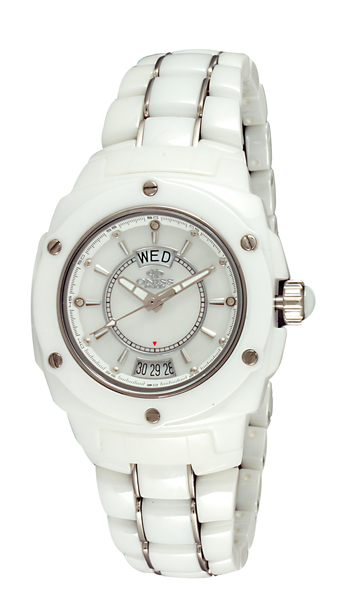 SWISS MOV'T., HIGH TECH CERAMOC AND STAINLESS STEEL, MOP DIAL, ON436-L/WT