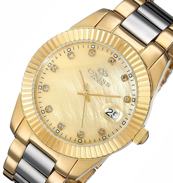 Swiss Mov't, Tungsten and Stainless, MOP dial with Genuine Sapphire, ON6019-LGG , Retal at $575.00