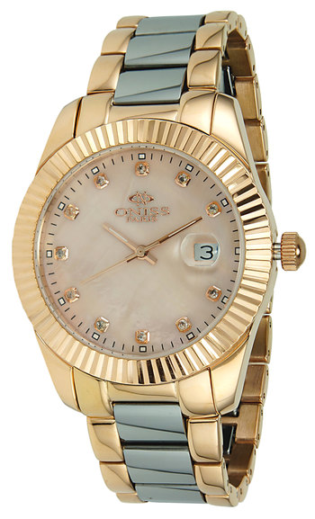 Swiss Mov't, Tungsten and Stainless steel case and band, Mother of Pearl dial w/ Genuine Sapphire ,ON6019-LRG , Retal at $575.00