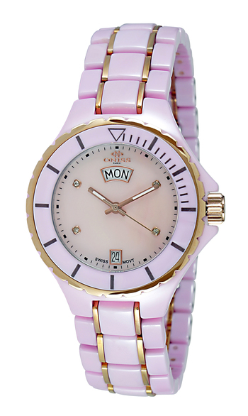 SWISS QUARTZ MOV'T. HIGH TECH CERAMIC, MOP DIAL, ON8015-LDDRG/PINK