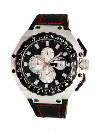 SWISSCHRONOGRAPH WITH TYCH YMETER MOVEMENT, SANDWICH CASE 25 PIECE CASE S,  DAY/DATE WINDOW, ON3255-MBK - RETAIL AT $825.00