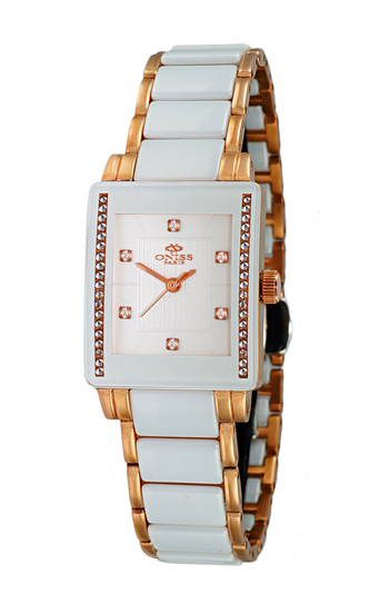 WHITE SAPPHIRE STONE, STAINLESS STEEL AND HIGH TECH CERAMIC CASE AND BAND, ON613-LRG/WT - RETAIL AT $825.00