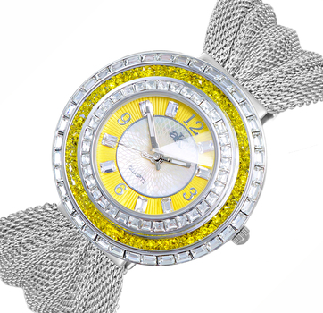 YELLOW AUSTRIAN ACCENT STONE, GENUINE SUEDE LEATHER BAND, AK9707-LYW/ Mesh, RETAIL AT $355.00