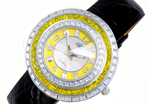 Yellow Austrian Stone, MOP Dial, Faceted Crystal. AK9707-LYWBK - RETAIL AT (MSRP: $355.00)