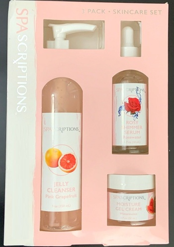 New Spascriptions Pretty Pinks 3 Pack Skincare Set Cleanser, Serum, Gel Cream
