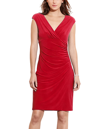 Ralph Lauren Women's Ruched Empire-Waist Cap-Sleeve Dress - Women Size 6