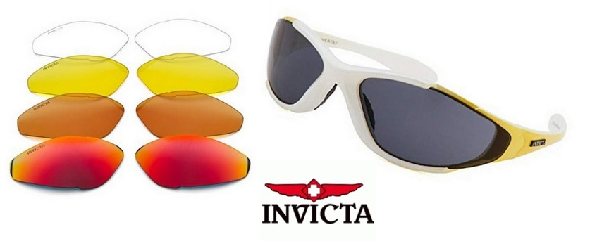 New MADE IN ITALY INVICTA Men's Oval White And Yellow Sunglasses (Exchangeable Lenses)
