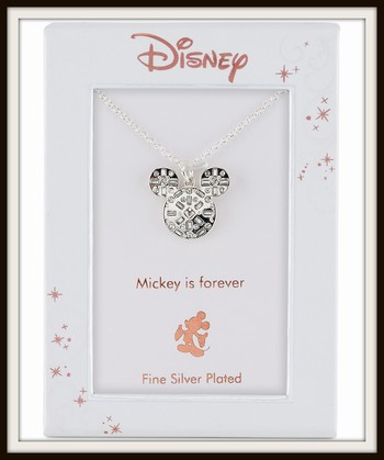Walt Disney Mickey Mouse Crystal Pendant Necklace in Fine Silver Plate Retail $60.00