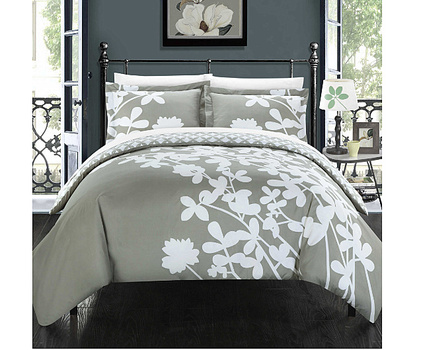 Chic Home Camellias King Reversible Duvet Cover in Grey