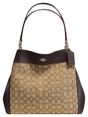 Coach Women's Bag / Purse Khaki / Brown Jacquard Satchel Retail $398.00