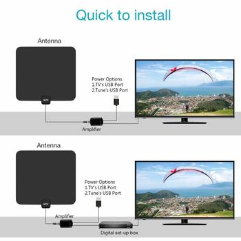 Amplified HD Digtial TV Antenna with 50-85 Miles Long Range - Detachable Signal Booster Support Full HD 1080P 4K All TVs for Indoor w/Longer Coax Cable