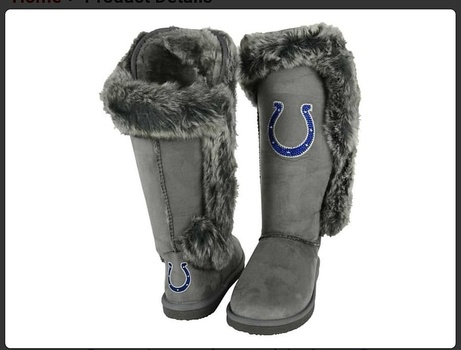 Officially licensed New Indianapolis Colts NFL TEAM Ladies Boots, Size 8 Faux Fur Retail $129.00