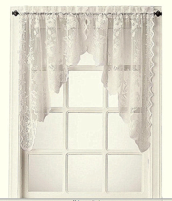 Home Expression Jessica Lace Rod-Pocket Swag Valance WHITE