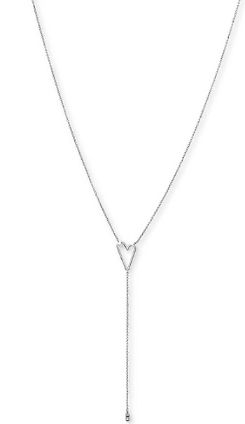"""Lucky Brand Silver-Tone Open Heart Lariat Necklace, 18"""" + 2"""" extender"""