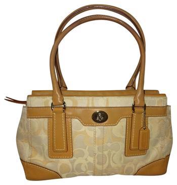 Coach Ivory/Tan Signature Handbag