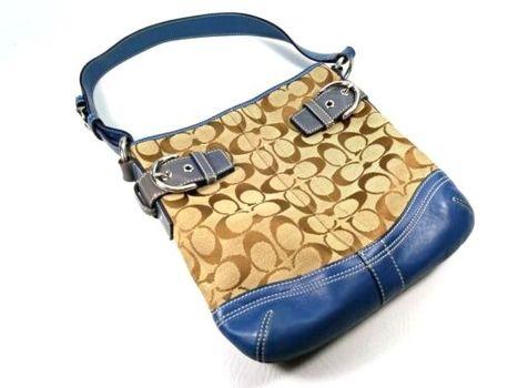Coach Signature Hobo Leather Satchel Bag Handbag Great!