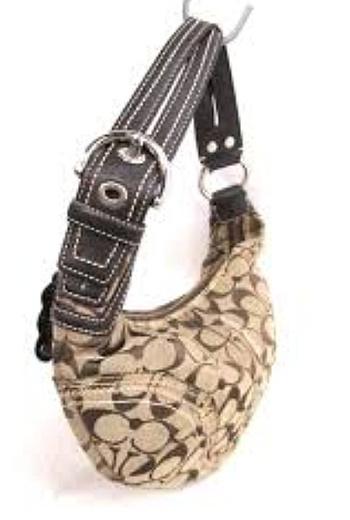 COACH Signature Jacquard Soho Hobo Purse Handbag Bag Great