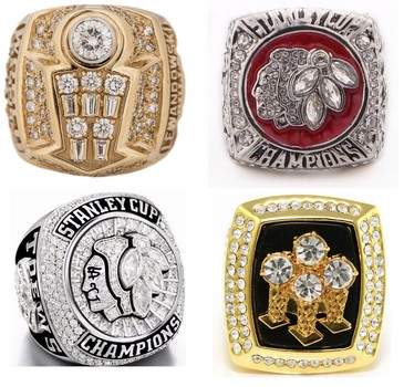 Free Shipping 4 Chicago Super Fan Collection Replica Champ Rings Bulls/Blackhawks Size 11