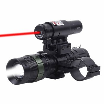 Tactical Red Laser Dot Sight + LED Zoomable Flashlight with Rings Mount Combo for Rifle Shotgun