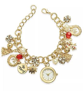 Holiday Lane Gold-Tone Charm Bracelet Watch 25mm