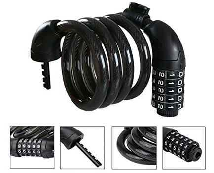 New  Bike Cable Basic Self Coiling Resettable 5-Digit Combination with Complimentary Mounting Bracket