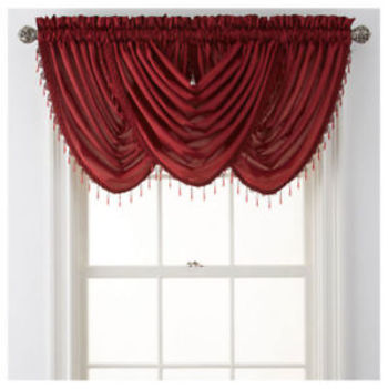 Royal Velvet® Plaza Thermal Interlined Rod-Pocket Waterfall Valance - Claret
