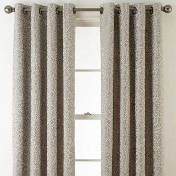 Royal Velvet Plaza Tapestry Blackout Grommet-Top Curtain Panel - Pebble Beach
