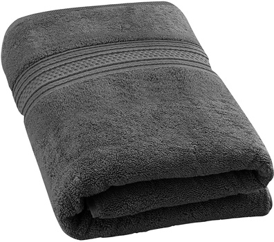 """100% COTTON Luxury Royal Velvet Signature Soft Solid Bath Towel - 32x62"""" Winter Grey LONG AND COMFY"""