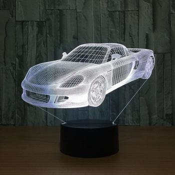 3D Optical Illusion Car Shaped Lamp with 7 Colors