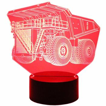 3D Optical Illusion Dump Truck Lamp/Night Light with 7 Colors