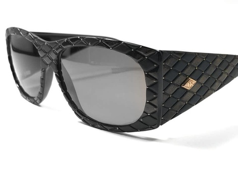 New Helena Rubinstein Black Brown Quilted Sunglasses MADE IN FRANCE Retail $398.00