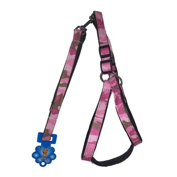 New BO MEI Houndstooth Nylon/Soft Faux Leather Adjustable Dog Harness and Leash