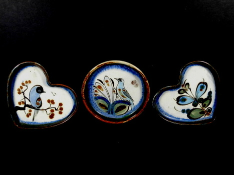 Three Mexican Pottery Dishes - Signed, Handmade and Painted