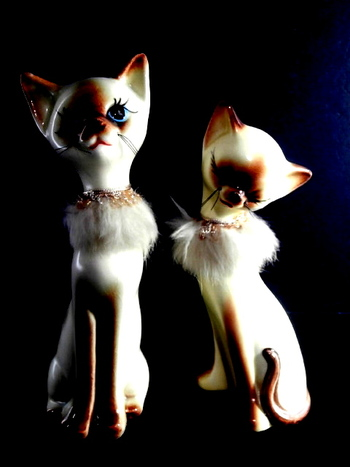 Two Hand Painted Siamese Cats by Giftcraft