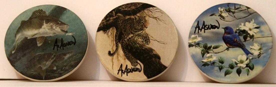 3 pcs Al Asnew Hand Painted Coasters