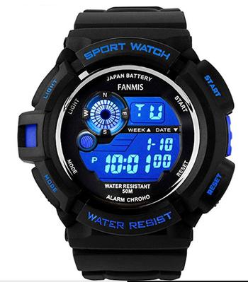 New Fanmis Mens Military Multifunction Digital LED Watch Electronic Waterproof Alarm Quartz Sports Watch Blue