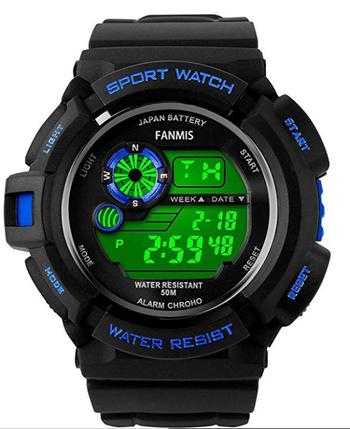 New Fanmis Mens Military Multifunction Digital LED Watch Electronic Waterproof Alarm Quartz Sports Watch Green