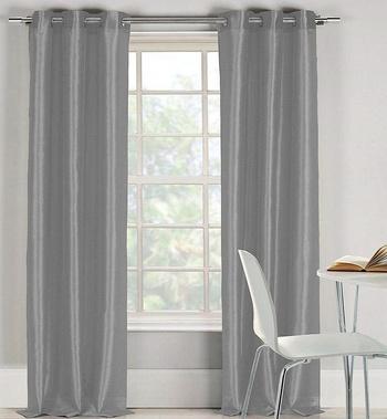 "New Duck River Textiles Bali Faux Silk Grommet Top Window Curtain 2 Panel Drape 38""W X 84""L Silver"